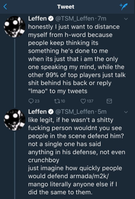 Le tweet de Leffen parlant d'Hungrybox