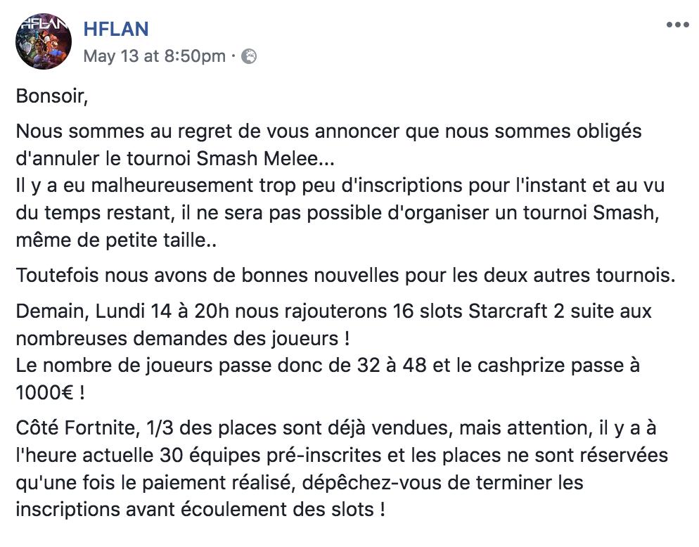 La HFLAN annonce sur Facebook l'annulation du tournoi Melee 2018.